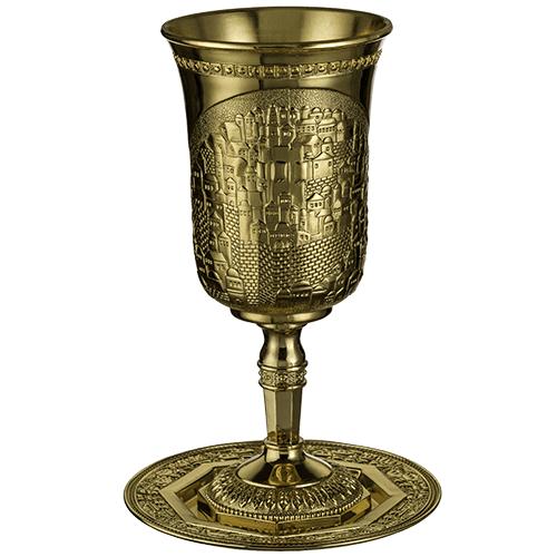 סט קידוש ירושלים של זהב